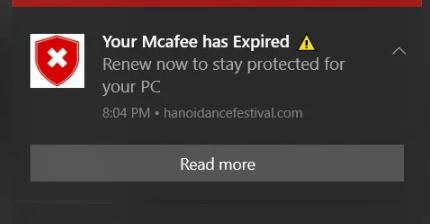 McAfee POP-UP fake Notification