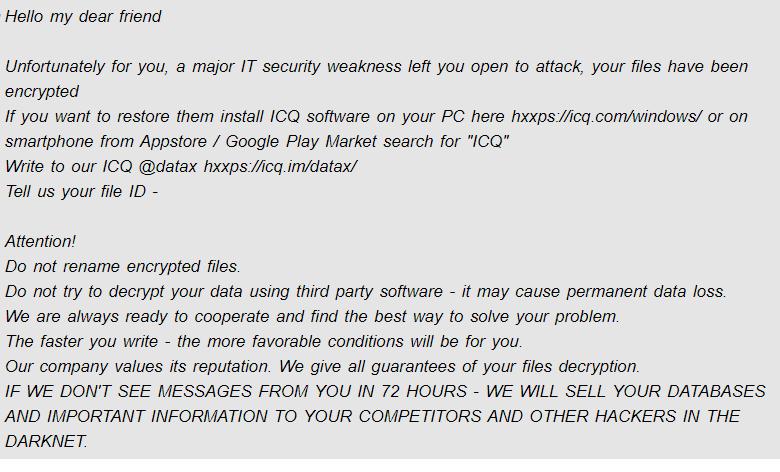Datax ransomware